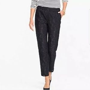 J.Crew Pant Pull On Floral Lace Ankle Lined pants